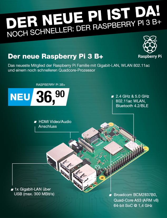 Artikel: RASPBERRY PI 3B+; EUR 32.90