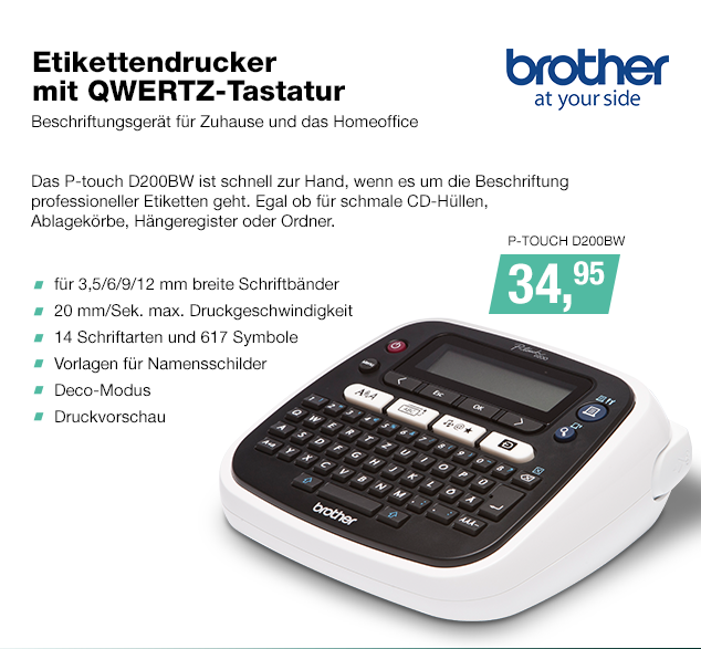 Artikel: P-TOUCH D200BW; EUR 34.95
