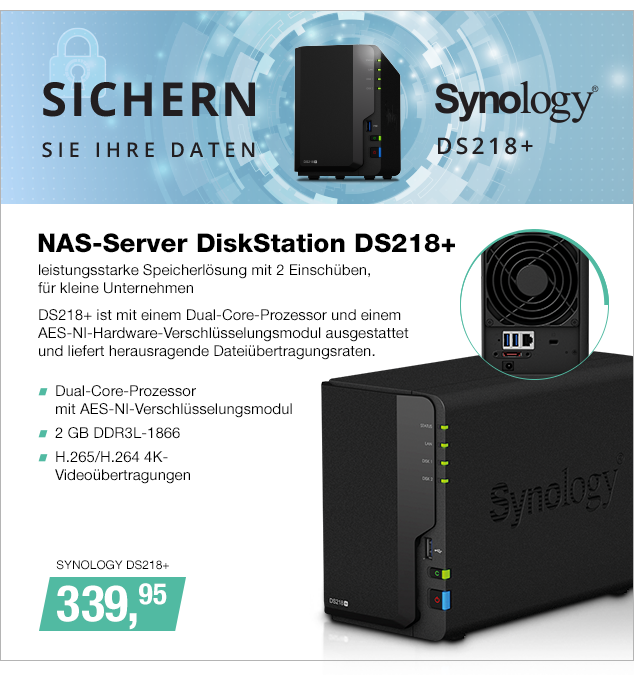 Artikel: SYNOLOGY DS218+; EUR 339.95