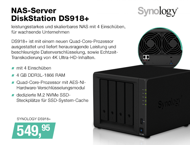 Artikel: SYNOLOGY DS918+; EUR 549.95