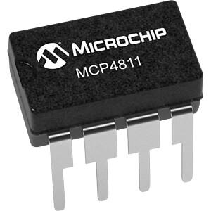 D/A-Wandler, 10-bit, 1-Kanal, SPI, 2,7 V ... 5,5 V, DIP-8 MICROCHIP MCP4811-E/P