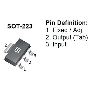 LDO fixed voltage regulator, 1.2 V, 1 A, SOT-223 TAIWAN-SEMICONDUCTORS TS1117BCW12