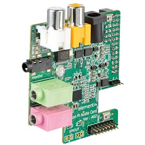 Raspberry Pi Shield - Audio Card, 26-Pin GPIO WOLFSON MICROELECTRONICS WOLFSON AUDIO CARD