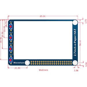 Entwicklerboards - E-Ink Display 2,7 (6,9cm), schwarz / weiß WAVESHARE 13354