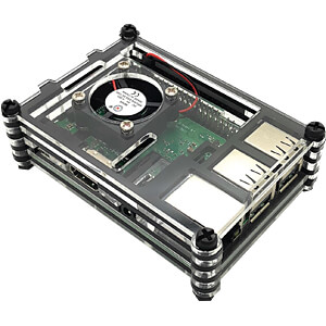 Housing for Raspberry Pi 3 with fan, stackable, transparent/blac SERTRONICS RPI-FCASE-TB