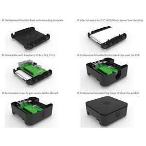 Gehäuse für Raspberry Pi 3 & 2,5 HDD, weiß ONE NINE DESIGN ASM-1900039-11
