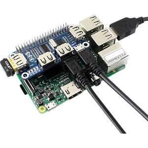 Raspberry Pi - USB-Hub, 4-Port, pHAT WAVESHARE RPI-USBHAT
