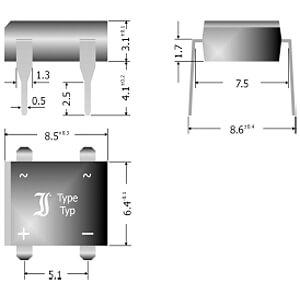 Bridge rectifier 160V 1A DIL-4 DIOTEC B80D