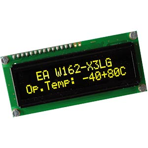 Display OLED, 2x16, 80x36mm, gelb ELECTRONIC ASSEMBLY EA W162-X3LG