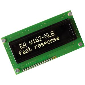 OLED display, 2 x 16, 84 x 44 mm, yellow ELECTRONIC ASSEMBLY EA W162-XLG