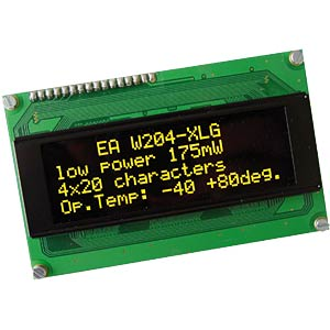 OLED display, 4 x 20, 98 x 60 mm, yellow ELECTRONIC ASSEMBLY EA W204-XLG