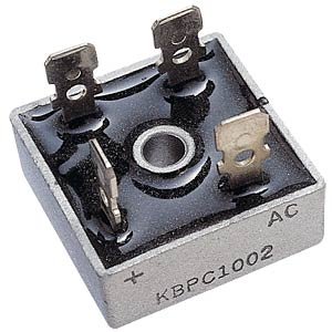Bridge rectifier, metal, 1000 V AC/700 V, 10 A HY-ELECTRONIC COMPONENTS KBPC1010