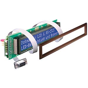 LCD-Modul, 2x16, H:6,7mm, ge/gn, m.Bel., seriell ELECTRONIC ASSEMBLY EA SER162-92NLEK