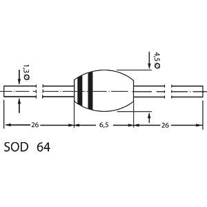 Si-Gleichrichterdiode, SOD64, 1000V, 3A VISHAY BYT56M