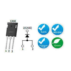 SiC-Schottkydiode 1200V, MPS, 50A, Gen-III, TO-247-3L UNITED SILICON CARBIDE UJ3D1250K