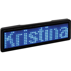 LED name tag, blue, 11x44 pixels, USB, black FREI