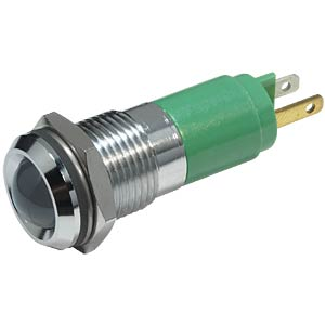 LED indicator, 10 mm, metallic refl., 24 V AC/DC, IP67, green EBT OPTRONIC 192A0355