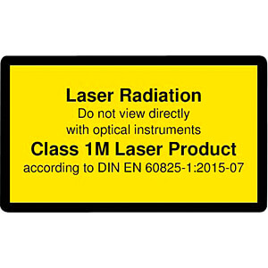Laser warning label engl. DIN EN 60825, class 1M, 38x23 mm, yell PICOTRONIC 70119565