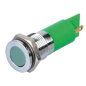 Indicator LED, 24 V DC, 14 mm, FASTON, green/BrC APEM Q14F1CXXG24E