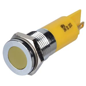 Indicator LED, 24 V DC, 14 mm, FASTON, yellow/BrC APEM Q14F1CXXY24E