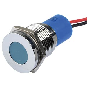 Indicator LED, 12 V DC, 14 mm, wired, blue/BrC APEM Q14F3CXXB12E