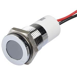 Indicator LED, 12 V DC, 14 mm, wired, white/BrC APEM Q14F3CXXW12E