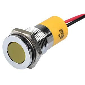 Indicator LED, 12 V DC, 14 mm, wired, yellow/BrC APEM Q14F3CXXY12E