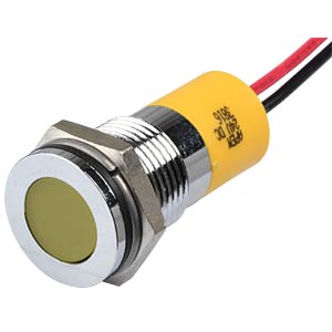 Indicator LED, 24 V DC, 14 mm, wired, yellow/BrC APEM Q14F3CXXY24E
