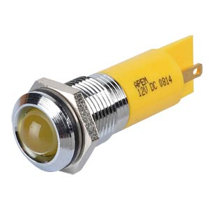 Indicator LED, 12 V DC, 14 mm, FASTON, yellow/BrC APEM Q14P1CXXY12E
