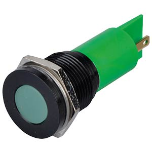 Indicator LED, 12 V DC, 16 mm, FASTON, green/BlC APEM Q16F1BXXG12E