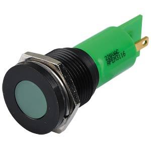 Indicator LED, 220 V AC, 16 mm, FASTON, green/BlC APEM Q16F1BXXG220E