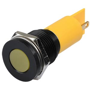 Indicator LED, 220 V AC, 16 mm, FASTON, yellow/BlC APEM Q16F1BXXY220E