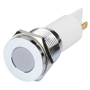 Indicator LED, 12 V DC, 16 mm, FASTON, white/BrC APEM Q16F1CXXW12E
