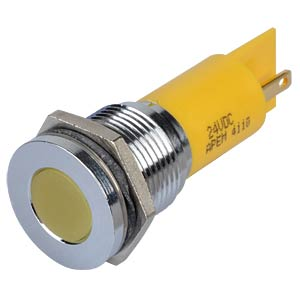 Indicator LED, 24 V DC, 16 mm, FASTON, yellow/BrC APEM Q16F1CXXY24E