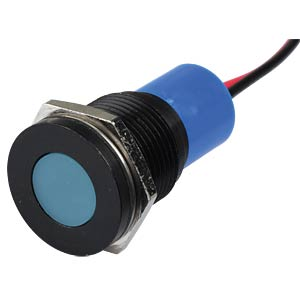 Indicator LED, 12 V DC, 16 mm, wired, blue/BlC APEM Q16F3BXXB12E