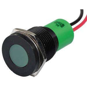 Indicator LED, 12 V DC, 16 mm, wired, green/BlC APEM Q16F3BXXG12E