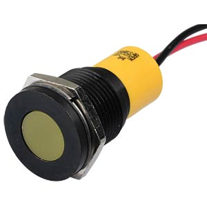 Indicator LED, 12 V DC, 16 mm, wired, yellow/BlC APEM Q16F3BXXY12E