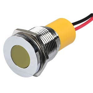 Indicator LED, 220 V AC, 16 mm, wired, yellow/BrC APEM Q16F3CXXY220E