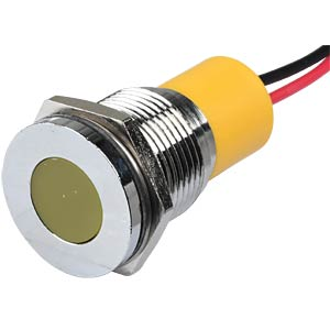 Indicator LED, 24 V DC, 16 mm, wired, yellow/BrC APEM Q16F3CXXY24E