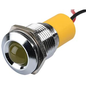 Indicator LED, 12 V DC, 16 mm, wired, yellow/BrC APEM Q16P3CXXY12E