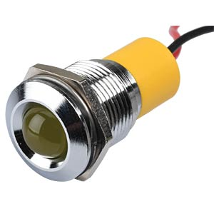 Indicator LED, 220 V AC, 16 mm, wired, yellow/BrC APEM Q16P3CXXY220E