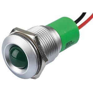 Indicator LED, 220 V AC, 16 mm, wired, green/SG APEM Q16P3GXXG220E