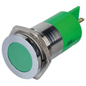 Indicator LED, 12 V DC, 22 mm, FASTON, green/BrC APEM Q22F1CXXG12E