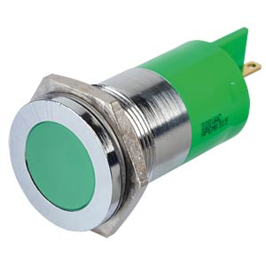 Indicator LED, 220 V AC, 22 mm, FASTON, green/BrC APEM Q22F1CXXG220E