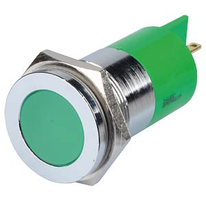 Indicator LED, 24 V DC, 22 mm, FASTON, green/BrC APEM Q22F1CXXG24E