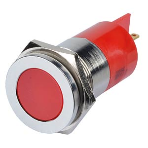 Indicator LED, 220 V AC, 22 mm, FASTON, red/BrC APEM Q22F1CXXR220E