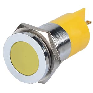 Indicator LED, 12 V DC, 22 mm, FASTON, yellow/BrC APEM Q22F1CXXY12E