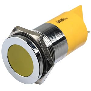 Indicator LED, 220 V AC, 22 mm, FASTON, yellow/BrC APEM Q22F1CXXY220E