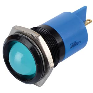 Indicator LED, 12 V AC/DC, 22 mm, FASTON, blue/BlC APEM Q22P1BXXB12AE
