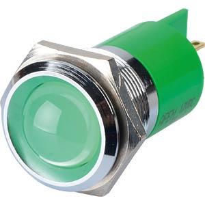 LED-Signalleuchte, grün, 12 V, Ø 22 mm, vorstehend, FASTON APEM Q22P1CXXG12E